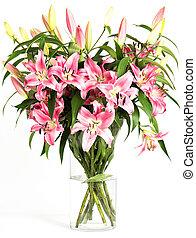 ピンク, 花束, 花, ユリ