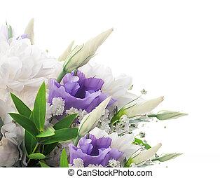 ピンク, 花束, bridal, 花, 白