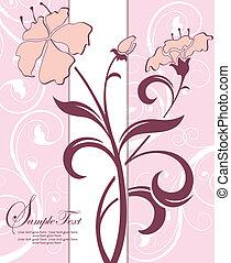 ピンク, 花, カード, 招待