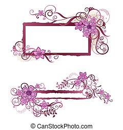 ピンク, 花, フレーム, &, 旗, デザイン