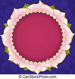 ピンク, 花, 円, フレーム