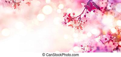 ピンク, 花, 春, 木, 咲く, ボーダー
