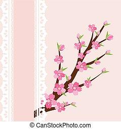 ピンク, 花, 背景, ブランチ, さくらんぼ