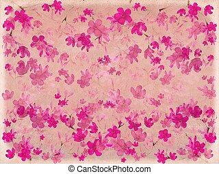 ピンク, 花, 花, 羊皮紙