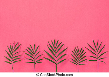 ピンク, 葉, 明るい, 緑の背景, やし