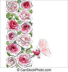 ピンク, 蝶, バックグラウンド。, ばら, 花, 流行