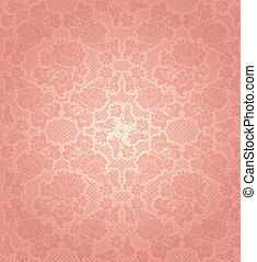 ピンク, 装飾用, レース, 背景, テンプレート, 花