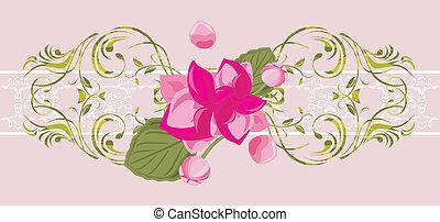 ピンク, 装飾用, 花, ボーダー