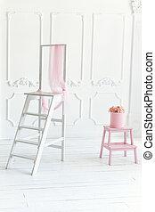 ピンク, 装飾, box., 単純である, はしご, 内部, 白い花