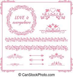 ピンク, 要素, birthday, 結婚式, 花, ∥あるいは∥
