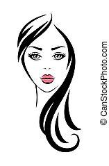 ピンク, 見る, 女, 長い髪, 唇, 黒