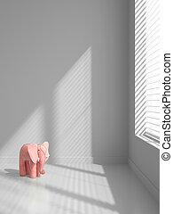 ピンク, 象, イラスト, 内部, 空, 3d