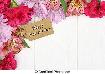 ピンク, 贈り物, 母, タグ, ∥間で∥, 木, に対して, コーナー, 白い花, ボーダー, 日, 幸せ