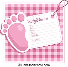 ピンク, 赤ん坊 シャワー, 招待