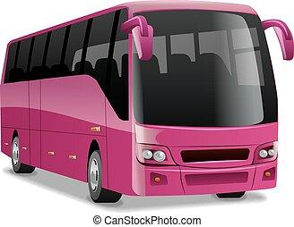ピンク, 都市, 快適である, バス