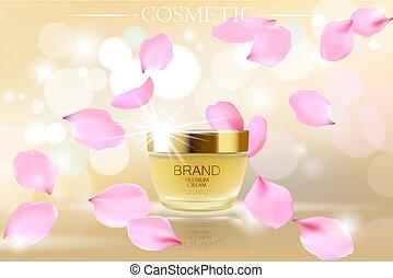 ピンク, 金, クリーム, poster., 背景, promo, バラ, 飛行, petals., 化粧品, イラスト...