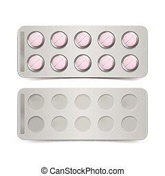 ピンク, 隔離された, ベクトル, 背景, 白, 丸薬, パック