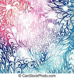 ピンク, 青い渦巻, 勾配, 葉, 手, デザイン, 招待, 花, 引かれる, カード