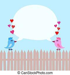 ピンク, 青い空, フェンス, ober, ベクトル, スピーチ, イラスト, 心, 泡, 鳥, 株