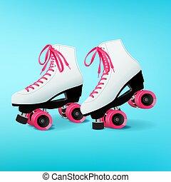 ピンク, 青い背景, スケート, 対, 白, 靴ひも, ローラー
