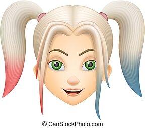 ピンク, 青い髪, 女の子, 顔