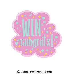 ピンク, 青, おめでとう, 勝利, ステッカー, フィナーレ, 勝利, ゲーム, デザイン, テンプレート, ビデオ