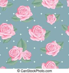 ピンク, 青, ばら, 型, 葉, ポルカ, バックグラウンド。, 点