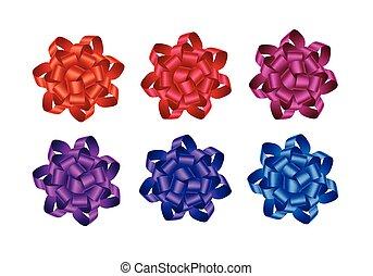 ピンク, 青, セット, 贈り物, 紫色, 隔離された, ベクトル, の上, 暗い, 深紅, 明るい, お辞儀をする, 赤い背景, すみれ, オレンジ, 終わり, マゼンタ, 白いリボン