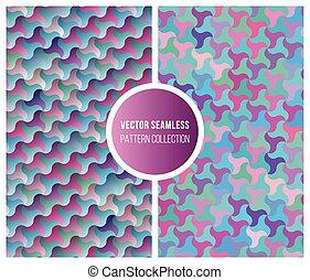 ピンク, 青, パターン, seamless, コレクション, ベクトル, 幾何学的