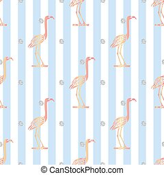 ピンク, 青, パターン, seamless, 銀, ストライプ, 背景, きらめき, 鳥, 点