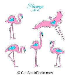 ピンク, 青, フラミンゴ, パッチ, セット, ファッション, 鳥, バッジ