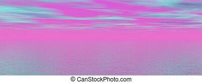 ピンク, 青, 日の出, 海