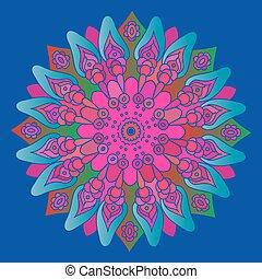 ピンク, 青, 明るい, mandala, bac