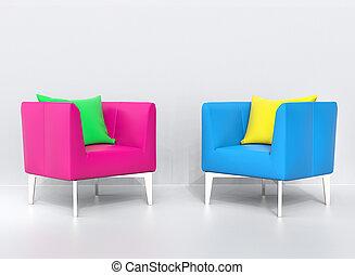 ピンク, 青, 枕, 黄色緑, 肘掛け椅子