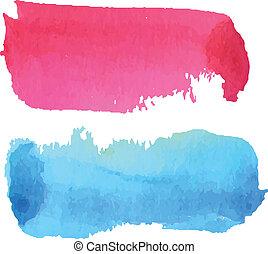 ピンク, 青, 水彩画