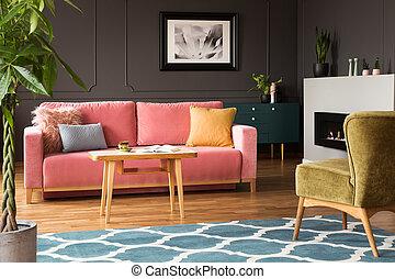 ピンク, 青, poster., 部屋, カラフルである, 暮らし, ソファー, 内部, 緑, 肘掛け椅子, 実質, 写真, カーペット