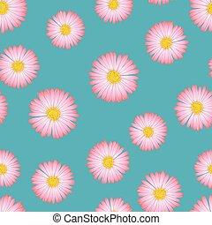 ピンク, 青, seamless, アスター, 背景, デイジー