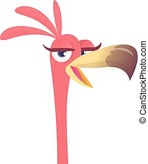 ピンク, 面白い, フラミンゴ, イラスト, ベクトル, bird., カートン