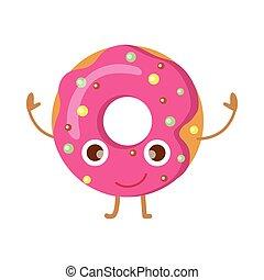 ピンク, 面白い, 振りかける, 特徴, ドーナツ, 幸せ