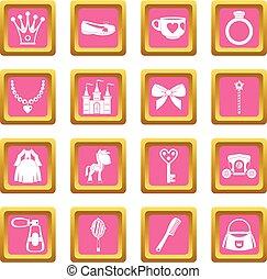 ピンク, 項目, 人形, 王女, アイコン