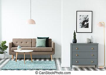 ピンク, 食器棚, 部屋, ブラウン, 暮らし, 単純である, パステル, 緑, カーペット, スペース, 地位, 灰色, クッション, ランプ, ポスター, 内部, テーブル, 白いソファー, 開いた, 木製である