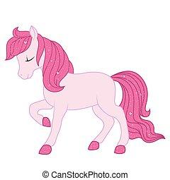 ピンク, 馬, illustration.