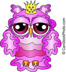 ピンク, 魅力的, パターン, owl-princess, 効果, ボリューム, 王冠