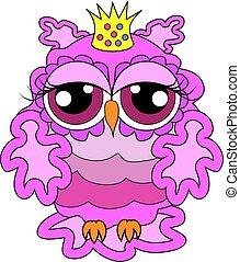 ピンク, 魅力的, 王冠, owl-princess