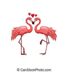 ピンク, 鳥, フラミンゴ, 愛, ベクトル