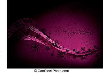 ピンク, 黒, 雪片, 背景, クリスマス