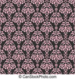 ピンク, &, 黒, seamless, ダマスク織