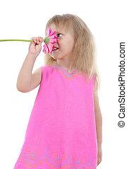 ピンク, 鼻で吸う, 女の子, 服, flower.