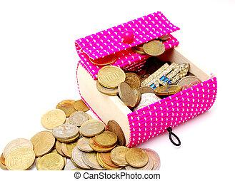 ピンク, ane, 古い, 贈り物, 木製である, コイン, 箱, 新しい, 白