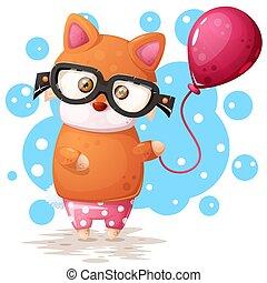 ピンク, balloon., キツネ, ガラス